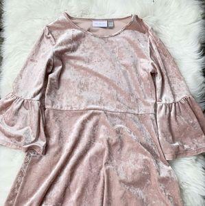 Pink velvet kids dress